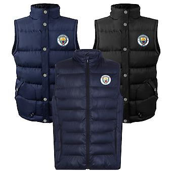 Manchester City Mens Gilet Jacka Kropp Varmare Vadderad OFFICIELL Fotbollsgåva