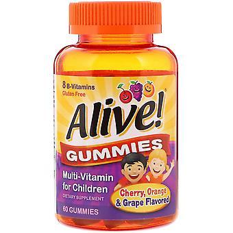 Naturens vei, levende! Gummies, Multi-Vitamin for barn, Kirsebær, Appelsin & Drue