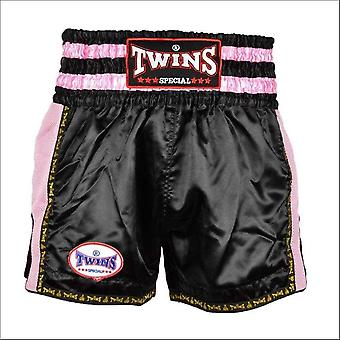 Twins special retro muay thai shorts - black pink