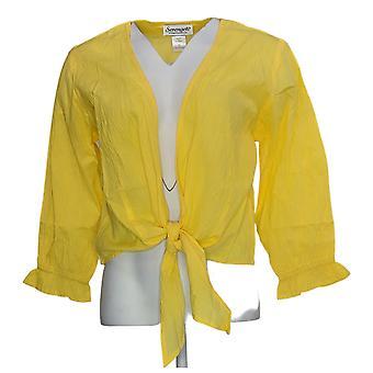 Serengeti Women's Sweater Crinkle Tie Cardigan Yellow