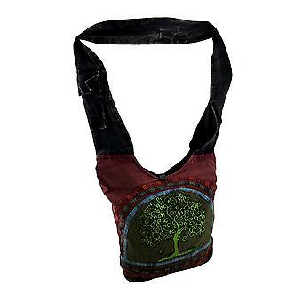 Baum des Lebens voll ausgekleidet Baumwollsegeltuch Cross Bodybag