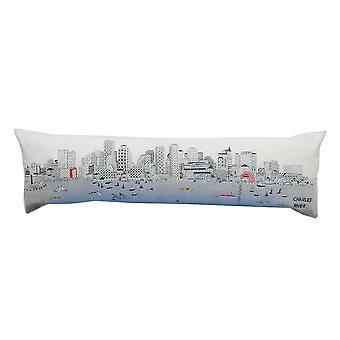 Boston Novelty Cityscape Ver almohada de la reina de la lana contemporánea día / noche cojín