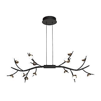 Luminosa Beleuchtung - 16 Licht linear Deckenanhänger, 16 x 3W LED, 3000K, 2640lm, schwarz, Antik Messing