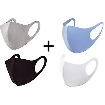 4x Face Mask, Washable Reusable Mouth Guard, Black ,Blue,White and Beige