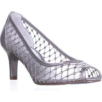 Adrianna Papell Jamie Peep Toe Mesh Caged Pumps, Silver