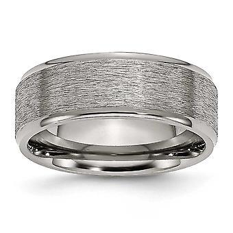 Titanium Geborsteld engravable Grooved Edge 8mm Satin Gepolijste Band Ring Sieraden Geschenken voor vrouwen - Ring Grootte: 7 tot 15