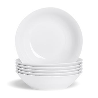 """Juego de tazón de pasta blanca de 12 piezas - grandes cuencos de ensalada de porcelana clásica cuencos para servir - 253 mm (10"""")"""