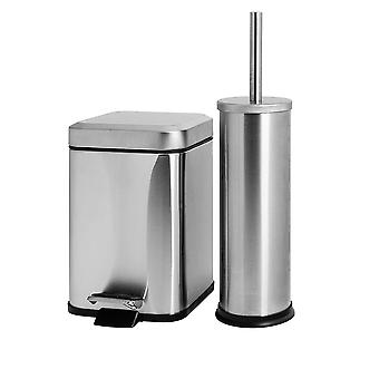 Bathroom Pedal Bin & Toilet Brush Set - 3L Square Bin - Brushed Steel