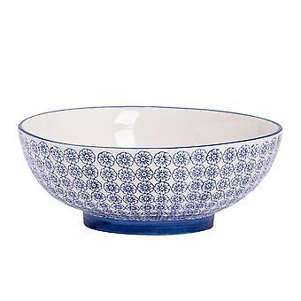 Nicola Spring Hand-Printed Fruit Bowl - Japanese Style Porcelain Pasta Salad Serving Bowls - Navy - 31.5cm