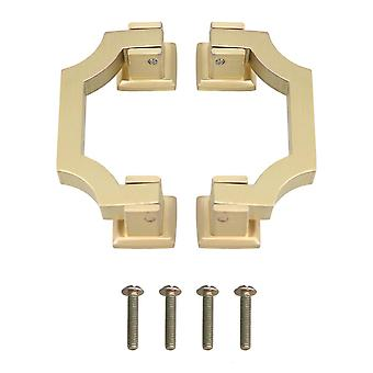 2 Pieces Wardrobe Pull Handles Hole Distance 64mm Bright Copper Color