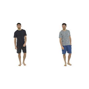 Tom Franks Mens Jersey Randig Kort Pyjama Set