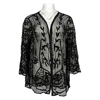 Nina Leonard Women's Sweater 3/4 Slv Embroidery Mesh Topper Black 703-746