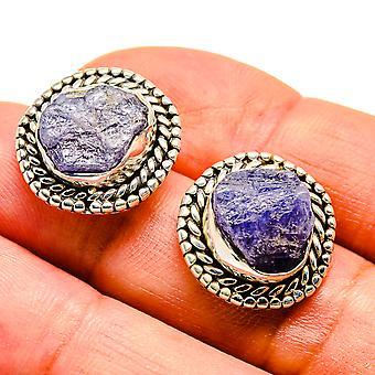 """Rough Tanzanite Earrings 3/4"""" (925 Sterling Silver)  - Handmade Boho Vintage Jewelry EARR407561"""