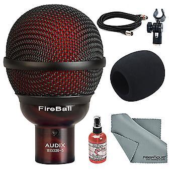 Audix eldklot dynamisk munspel och instrument mikrofon w / vindrutan+sanitizer+kabel+fibertique trasa