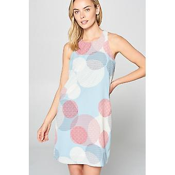 Circle Print, Sleeveless Boho Dress