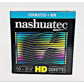 "New nashuatec high density hd 2-sided 3.5"" diskette ibm formatted 10 diskettes per pack for storage"