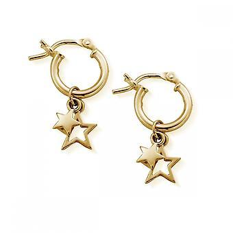 ChloBo GEH1128 Women's Gold Tone Double Star Hoop Earrings