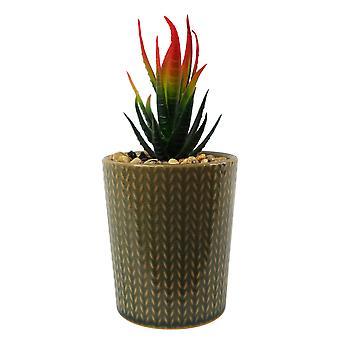 Plantador de rayas de piedra cerámica de 18 cm con planta de Dracaena roja artificial