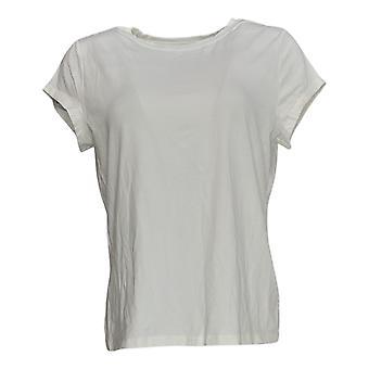 Anybody Women's Top Cozy Knit Shrunken Boyfriend Tee White A378607