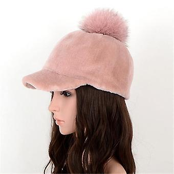 Mulheres Shearling Sheepskin Chapéu de malha - Outono e Inverno Moda Russa Casual