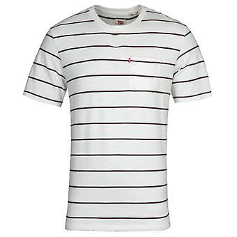 レヴィ&アポス s サンセット リラックス ポケット ストライプ 白 T シャツ