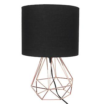 Decorative Retro Geometric Table Lamp - Drum Shade Bedside Lighting For Bedroom