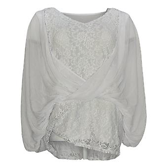 Laurie Felt Women's Top Knit Encaje Top Chiffon Superposición Blanco A292618