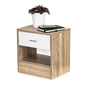 Nachttisch mit Schublade - weiß mit Holz - 38.5x29x40 cm
