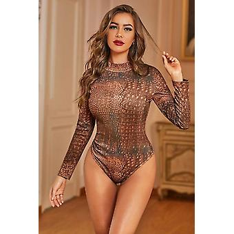 Brown Long Sleeve Mock Turtleneck Snakeskin Bodysuit