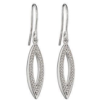 Fiorelli Silver Womens 925 Sterling Silver Rodium Pläterad Cubic Zirconia Marquise Drop Hook Örhängen