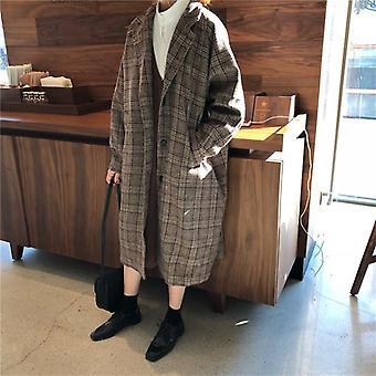 Autumn-winter Faux Soft Leather Jackets Women Plaid Long Coat Streetwear