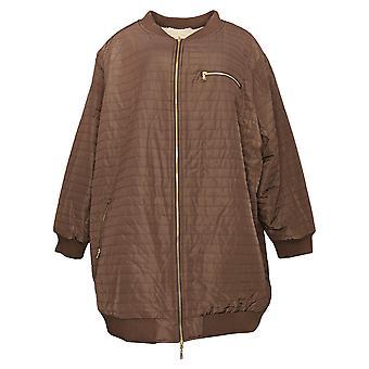 zuda Women's Jacket Reversible Zip Front Long Bomber Brown A384439