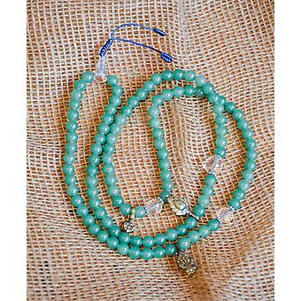 Green Jade Mala Beads With Quartz Spacers