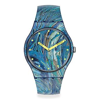 Swatch Suoz335 The Starry Night By Vincent Van Gogh Silicone Watch
