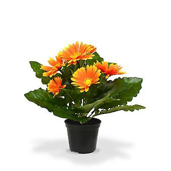 Kunstplant Gerbera 30 cm oranje in pot