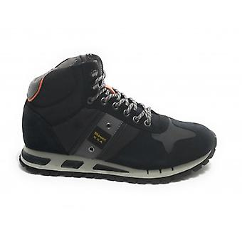 Men's Shoes Blauer Sneaker High Mod. Navy Blue U21bu06 Leather and Fabric Mustang