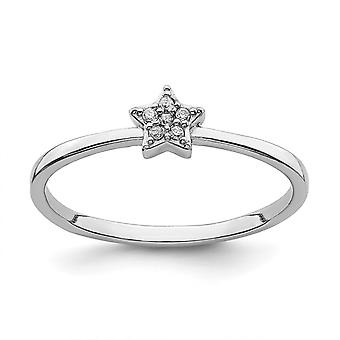 925 Sterling Silver Rhodium Plated CZ Cubic Zirconia Simulated Diamond Star Ring Jewelry Gifts for Women - Ring Size: 6