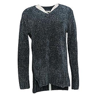 Orvis Women's Sweater V-Neckline Long Sleeve Blue