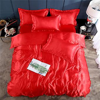 Soft Smooth Satin Silk Bedding Set, Luxury Solid Color Bed Sheet, Quilt Duvet