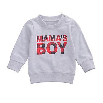 Bebek Uzun Kollu Sweatshirt yuvarlak boyun mektubu baskılı rahat kazak gömlek