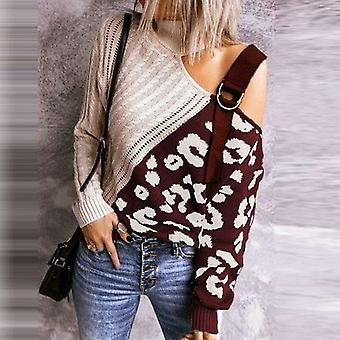 Women Turtleneck Sexy Off Shoulder Knitted Sweaters