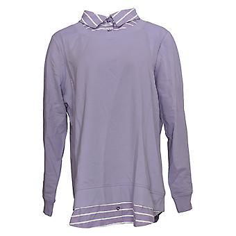 Denim & Co. Women's Top French Terry Tunic Collar Hem Purple A374637