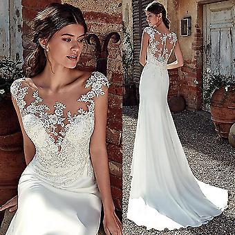 Modest Soft Satin Neckline Mermaid Wedding Dresses With Lace, Appliques Sheer