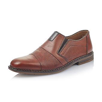 Rieker B1765-24 Jason Mens Leather Slip On Shoe In Brown
