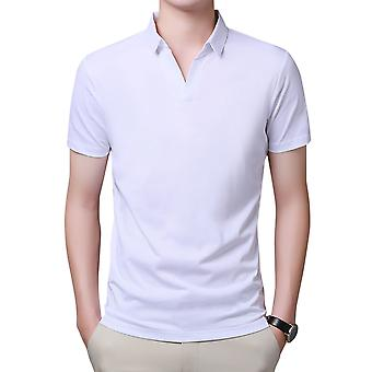 YANGFAN Heren V Hals T Shirt Collared Shirts Korte Mouw Slim Fit Casual Solid Color Tops