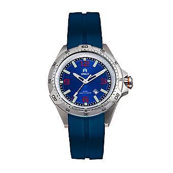 Shield Vessel Strap Watch w/Date - Dark Blue