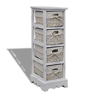 vidaXL armoires en bois avec 4 paniers de tresses blanc