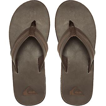 Quiksilver Mens Carver Natural Leather Summer Sandals Thongs Flip Flops - Brown