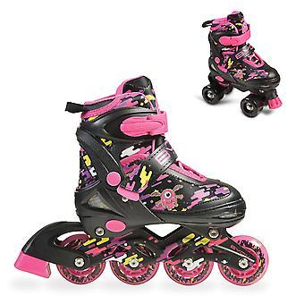 Byox Kids Inliner Roller Skates 2 in 1 Zax Pink Various Sizes ABEC-7 Bearing