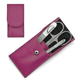 Hans Kniebes' Sonnenschein 3-piece Manicure Set in Nappa Leather Case, Made in Germany - Pink